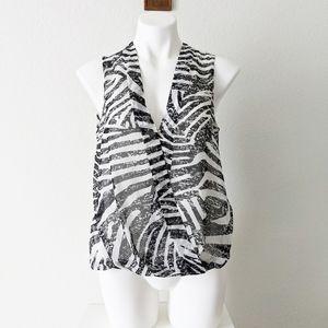H&M Striped Surplice Sleeveless Top